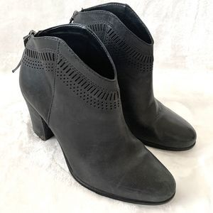 Vince Camuto Black Leather Heeled Ankle Booties